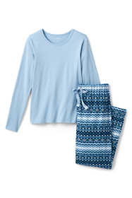 Women's Plus Size Knit Flannel Pajama Set