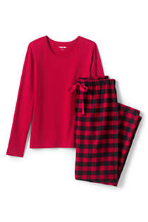 Women's Plus Size Pajama Set Knit Long Sleeve T-Shirt and Flannel Pants, Front