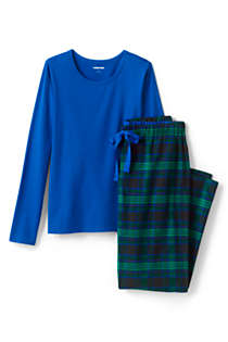 Women's Pajama Set Knit Long Sleeve T-Shirt and Flannel Pants, Front