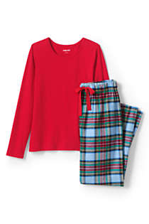 Women's Petite Pajama Set Knit Long Sleeve T-Shirt and Flannel Pants, Front