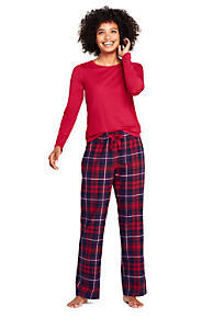 womens knit flannel pajama set