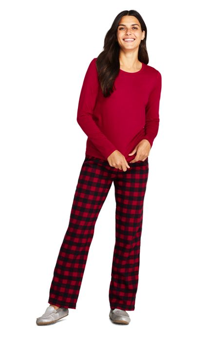 Women's Petite Knit Flannel Pajama Set