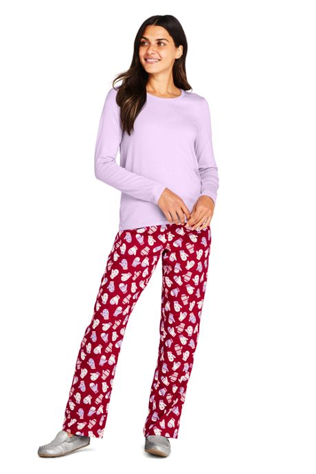 Women's Pajama Set Knit Long Sleeve T-Shirt and Flannel Pants