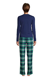 Women's Petite Pajama Set Knit Long Sleeve T-Shirt and Flannel Pants, Back