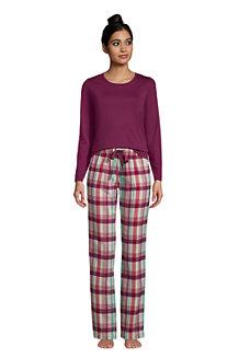 Flanell Pyjama-Set mit gemusterter Hose für Damen