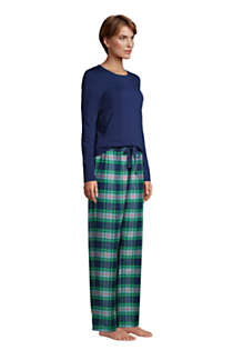 Women's Petite Pajama Set Knit Long Sleeve T-Shirt and Flannel Pants, alternative image