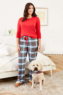 Women's Plus Size Pajama Set Knit Long Sleeve T-Shirt and Flannel Pants, Unknown