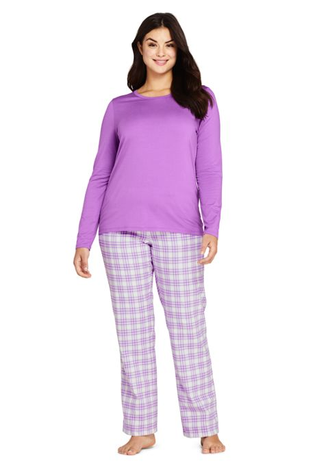 Women's Plus Size Knit Flannel Pajama Set