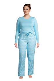 Women's Plus Size Pajama Set Knit Long Sleeve T-Shirt and Flannel Pants