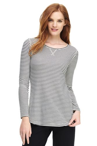 Women's Petite Starfish Striped Cotton Blend Top