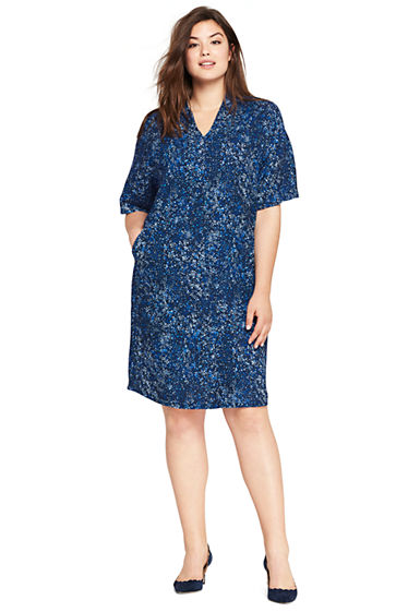 Womens Plus Size Dolman Print Dress From Lands End