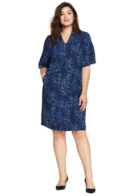 Women's Plus Size Dolman Print Dress