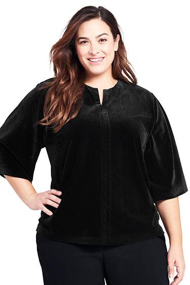 67d012b5cb2 Women s Plus Size Velvet Kimono Sleeve Top from Lands  End