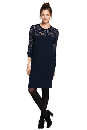 La Robe Pull en Laine Mérinos à Fleurs, Femme Stature Standard
