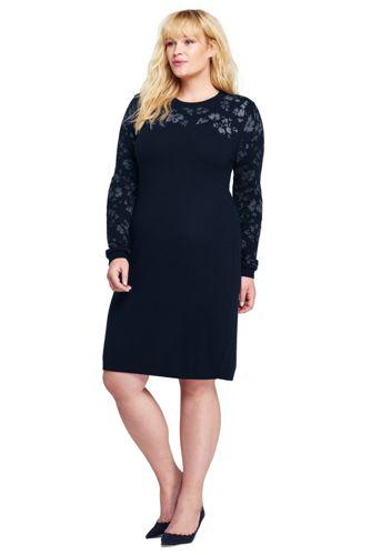Womens Plus Size Long Sleeve Merino Sweater Dress