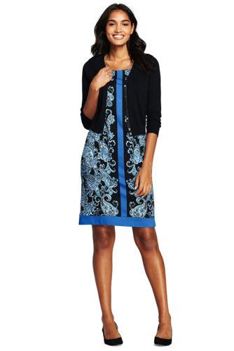 La Robe Ponte Sans Manches Imprimé Cachemire, Femme Stature Standard