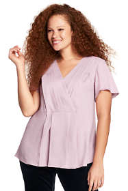 Women's Plus Size Pleat Front Tunic Top