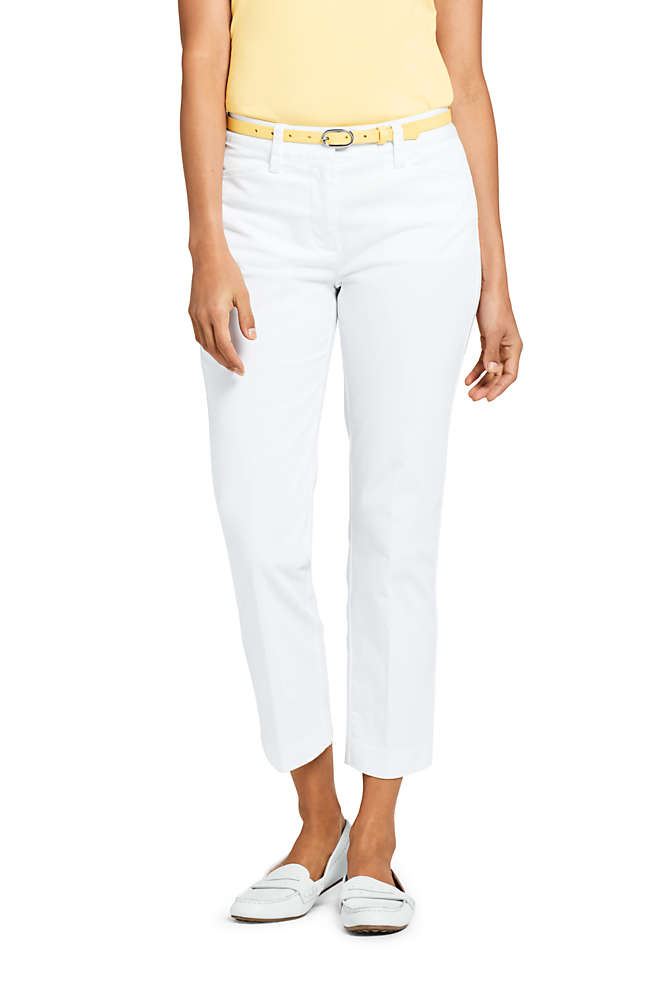Women's Mid Rise Chino Crop Pants, Front