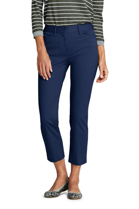 Women's Petite Mid Rise Chino Crop Pants