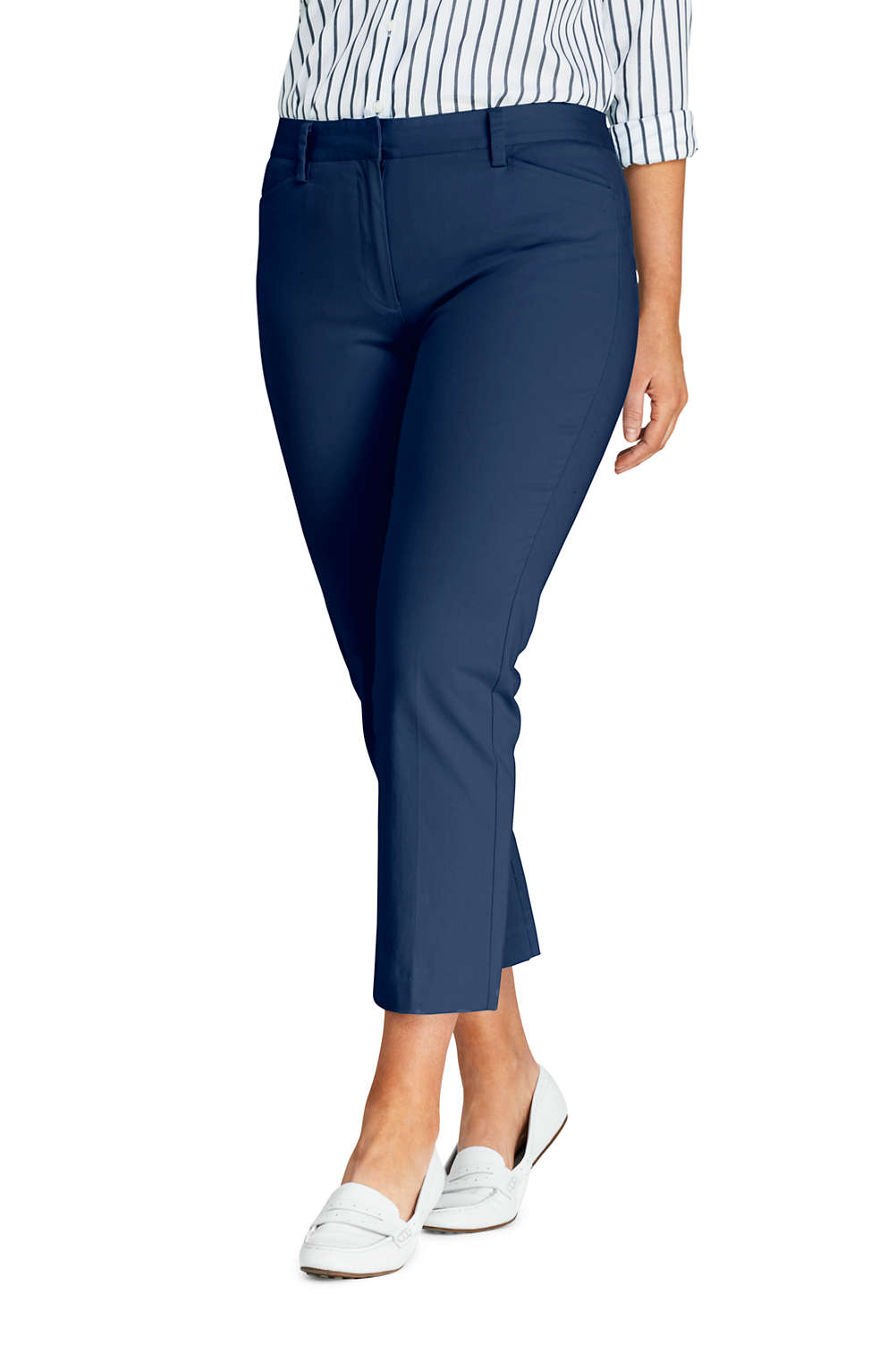 c0eeedb96530 Women's Plus Size Mid Rise Chino Capri Pants from Lands' End