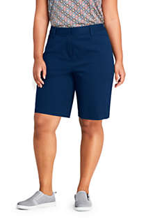 "Women's Plus Size Mid Rise 10"" Chino Bermuda Shorts, Front"