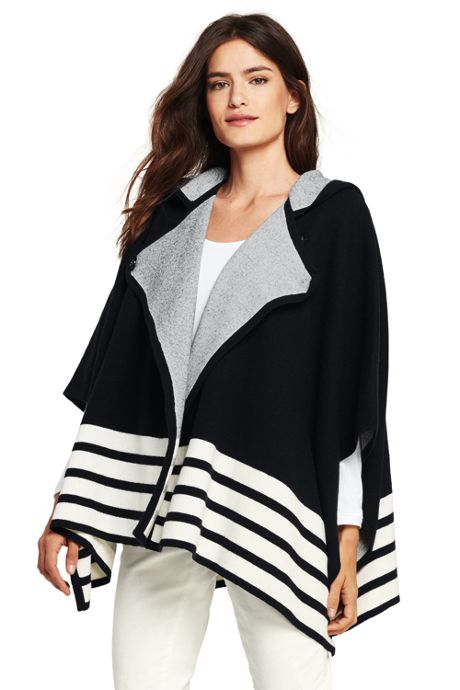Women's Boiled Merino-Cotton Hooded Sweater Cape