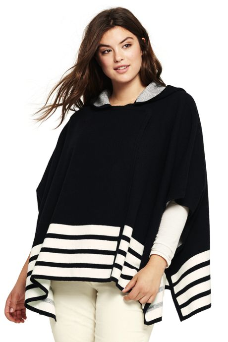 Women's Plus Size Boiled Merino-Cotton Hooded Sweater Cape