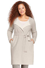 Women's Plus Size Boiled Merino-Cotton Tie Cardigan Sweater