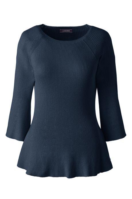 Women's Plus Size 3/4 Sleeve Flutter Sweater