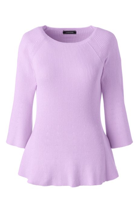 Women's 3/4 Sleeve Flutter Sweater