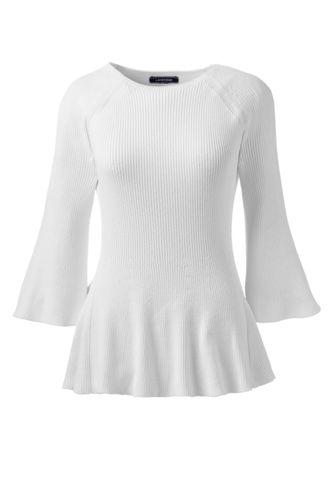 Le Pull Côtelé Évasé en Coton, Femme Stature Standard
