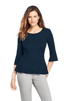 Women's Cotton Blend Ribbed Flutter Sleeve Jumper