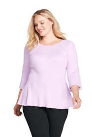 Women's Plus Size 3/4 Sleeve Flutter Sweater