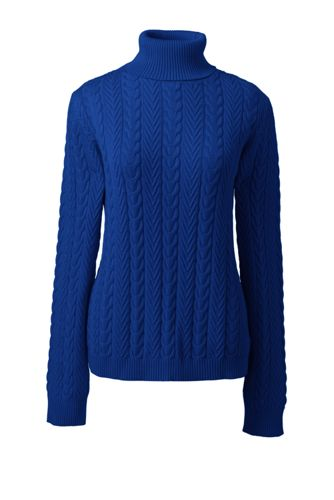 Zopfmuster-Pullover mit Rollkragen für Damen in Normalgröße