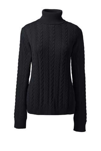 Women's Petite Cotton Cable Roll Neck Jumper
