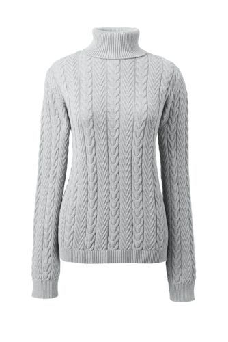 Women's Combed Cotton Cable Turtleneck Sweater from Lands' End