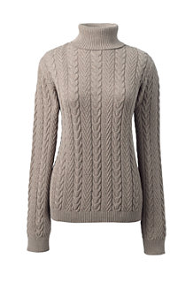 Women's Cotton Cable Roll Neck Jumper