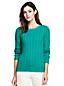 Zopfmuster-Pullover mit rundem Ausschnitt für Damen in Normalgröße