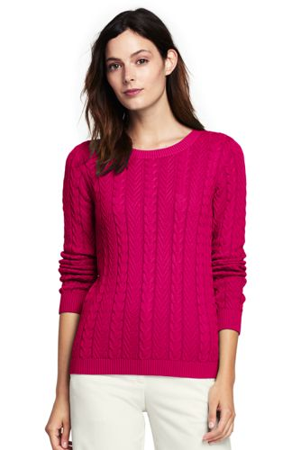 Women's Combed Cotton Cable Sweater from Lands' End