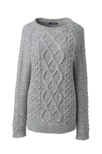 Melierter Pullover mit Aranmuster für Damen in Normalgröße