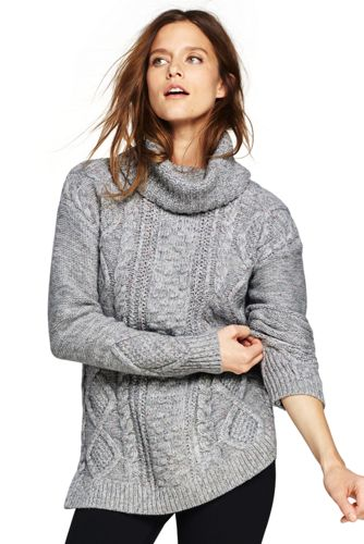 Women's Cozy-Lofty Cable Turtleneck Sweater from Lands' End