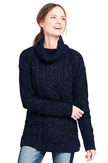 Women's Donegal Fancy Cable Roll Neck