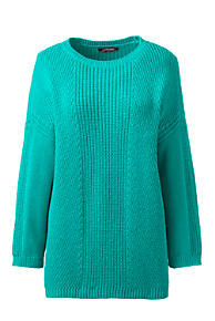 Womens Regular Cable Shaker Crew Neck Jumper - 20 - BLUE Lands End Sale Great Deals Sale Fashionable Free Shipping Sale Extremely Hot Sale For Sale 2lBsTc