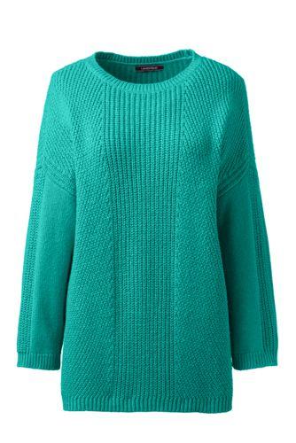 Shaker-Pullover mit 3/4-Ärmeln für Damen in Normalgröße