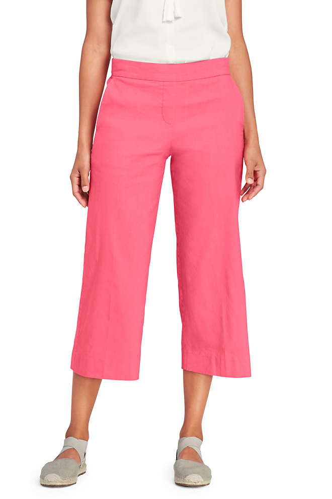 Women's Linen Wide Leg Crop Pants, Front