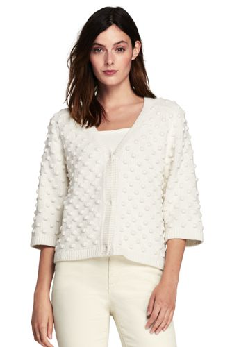 Women's Popcorn Stitch V-neck Cardigan
