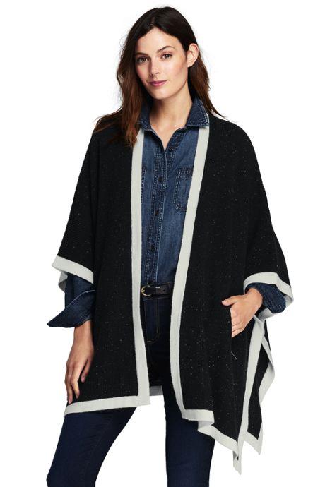Women's Wool Blend Open Sweater Cape