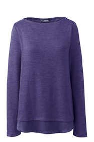 Women's Knit Woven Mix Split Back Top