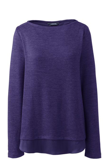 Women's Petite Knit Woven Mix Split Back Top