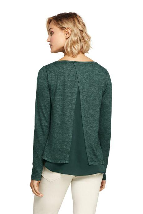 Women's Tall Knit Woven Mix Split Back Top